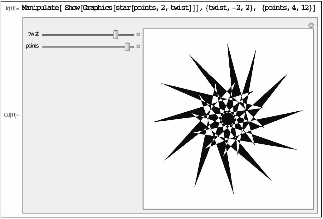 Screengrab from Mathematica showing a star with two sliders to controls its shape