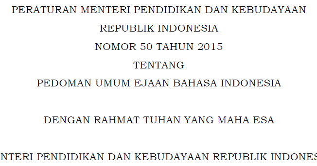 Peraturan Menteri Pendidikan Dan Kebudayaan Ri Nomor 50