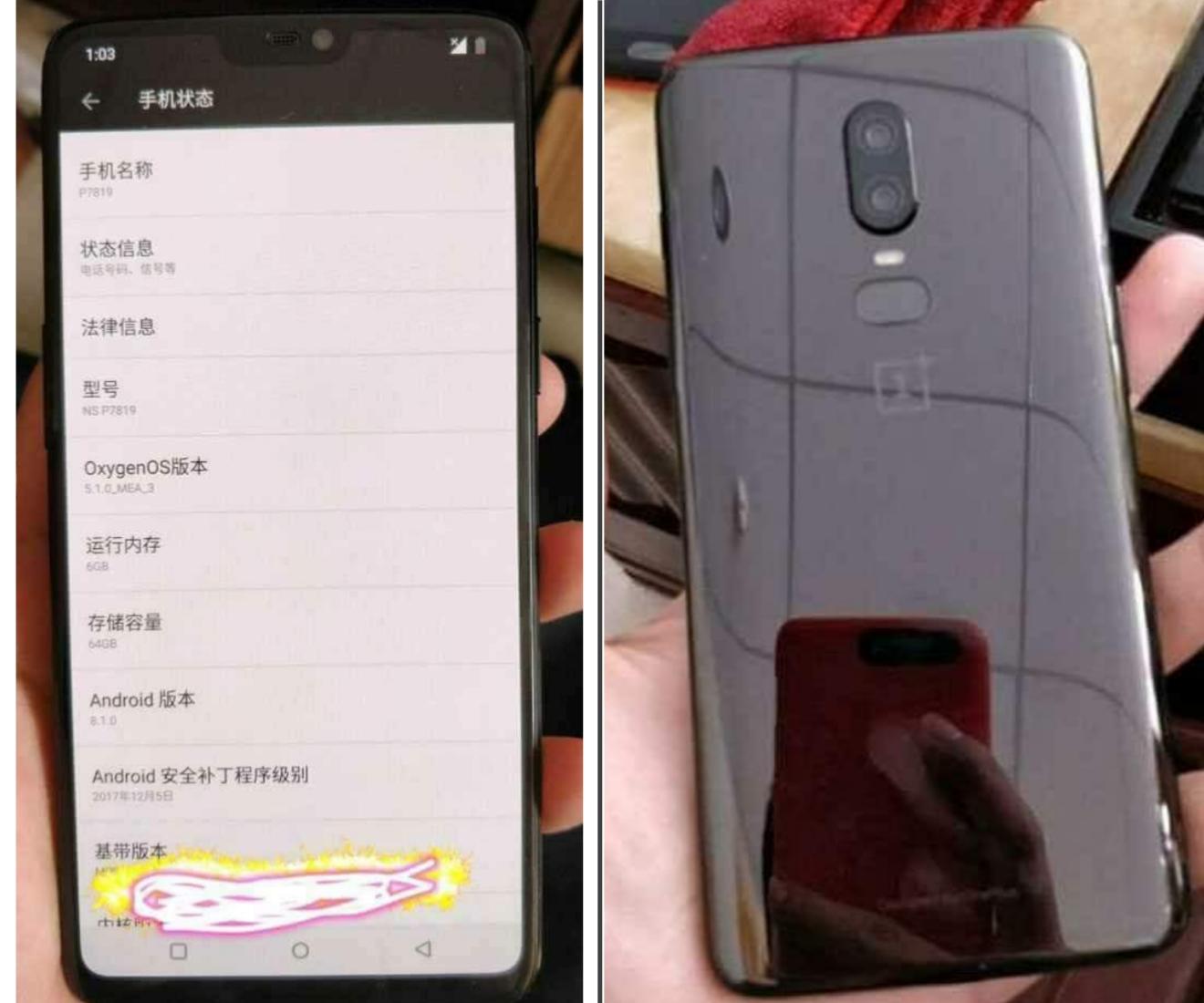 image of Oneplus 6 smart phone