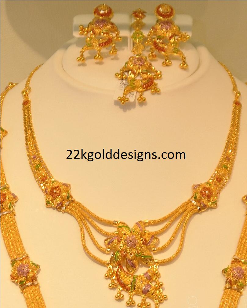 And contemporary gold jhumkas collection by khazana jewellery - Khazana Enamel Paint Gold Necklace