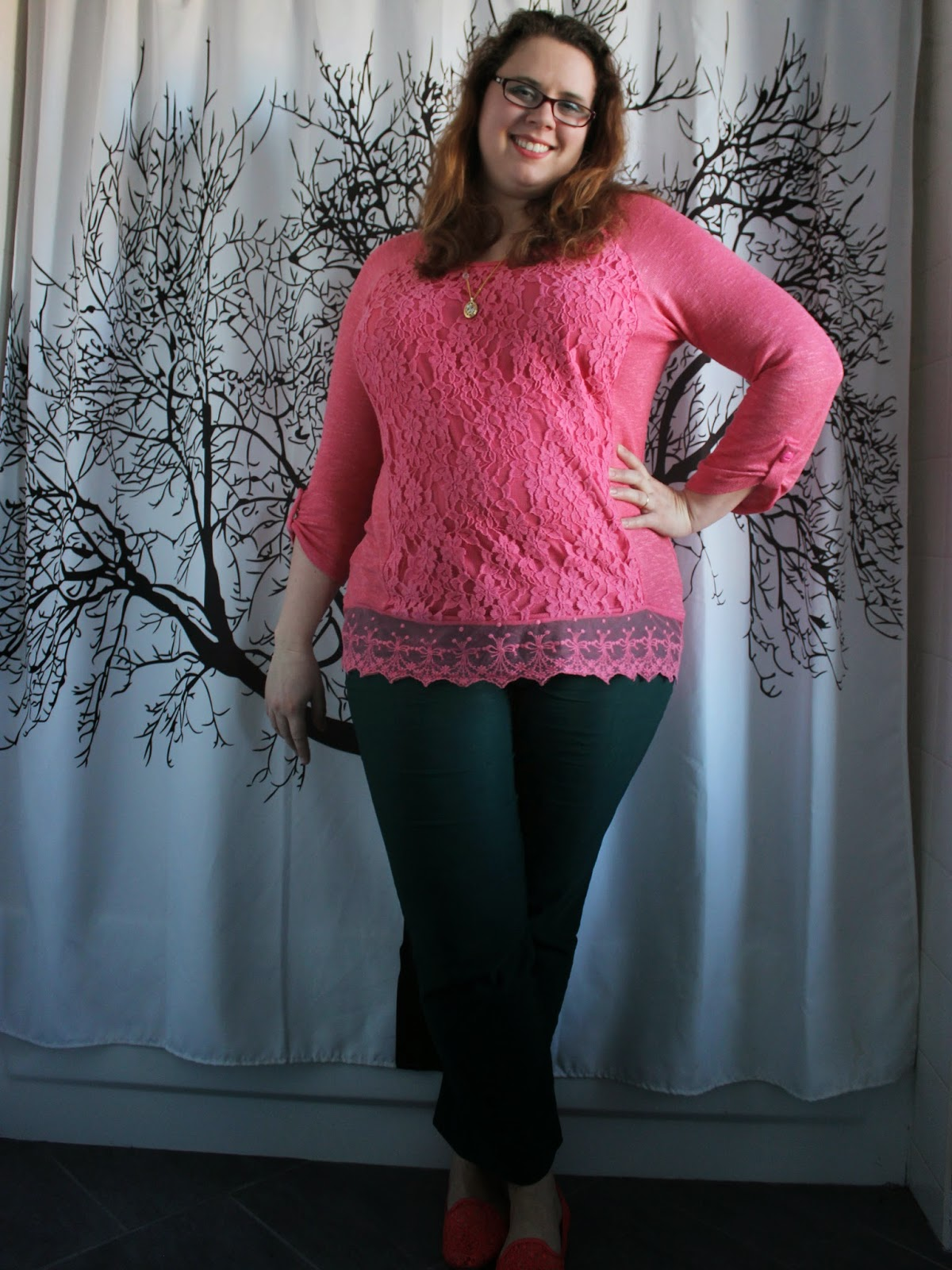 pink lace hem tunic, green ankle pants, lace flats, layered necklaces