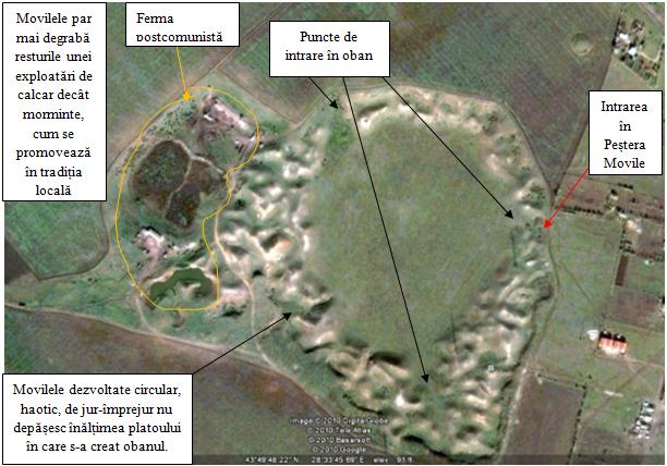Vedere aeriana (Google Earth). Pestera Movile. Rezervatia Obanul Mare