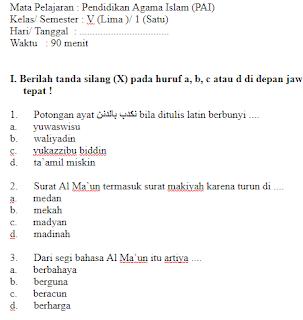 Soal-UAS-UKK-PAI-Kelas-5-SD-Semester-1