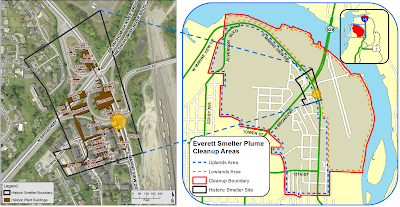 A pair of maps illustrate how the area where East Marine View Drive meets North Broadway was part of the Everett Smelter.