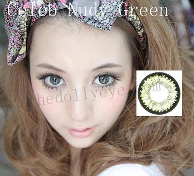 contact lens, celeb nudy green