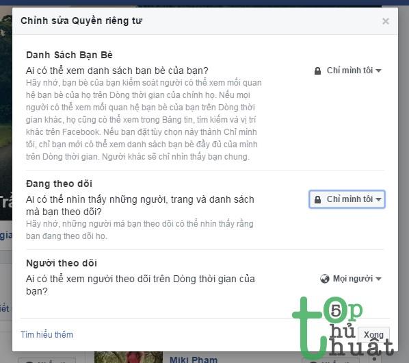 Chỉnh sửa quyền riêng tư bạn bè Facebook
