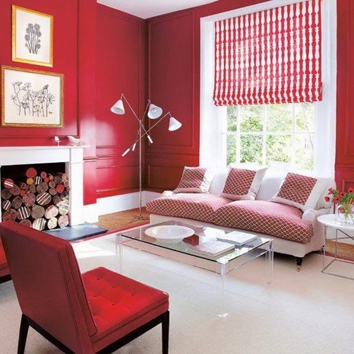 beyaz kırmızı oturma odası dekorasyonu