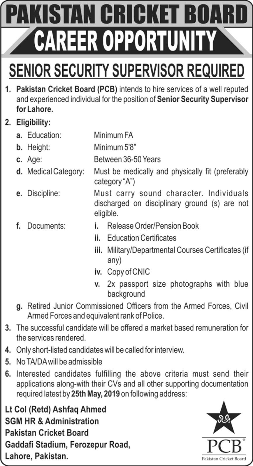 Pakistan Cricket Board PCB Jobs 2019 Latest Senior Security Supervisor
