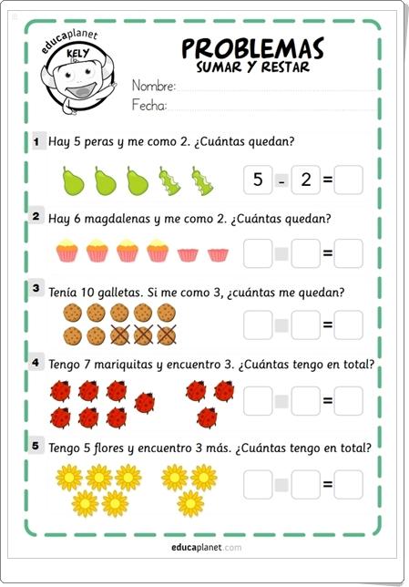 """""""Problemas de Sumar y Restar"""" de Educaplanet (Fichas de Matemáticas de 1º y 2º de Primaria)"""