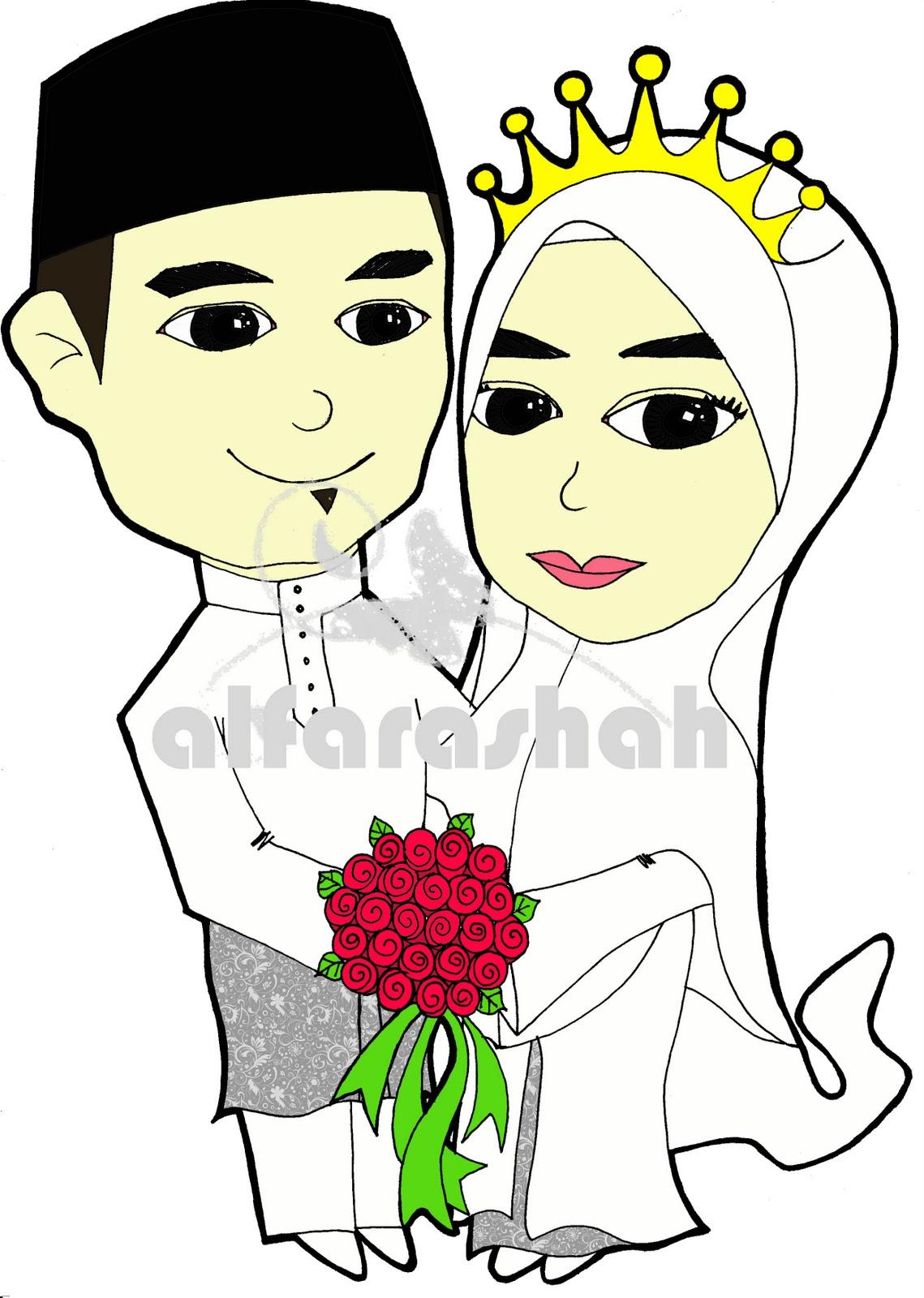Koleksi Gambar Kartun Muslimah Berkahwin