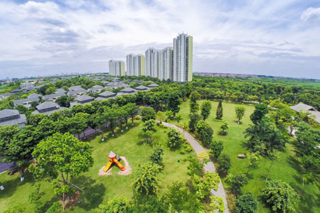 Không gian xanh của tổ hợp chung cư the emerald mỹ đình