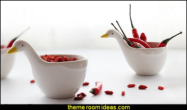 Cute Duck Shape Ceramic Dessert Bowls/ Seasoning Dishes/ Dipping Bowls/ Ketchup Saucer/ Tea Bag Holders for Salad Pudding Yogurt
