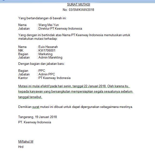 Contoh Surat Mutasi Insentif Free Download Images