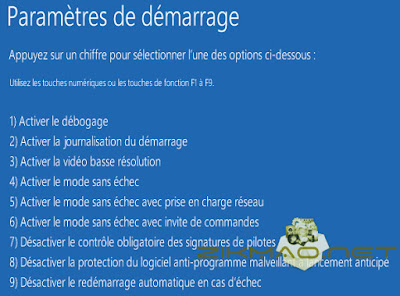Windows 10 paramètre de démarrage F7