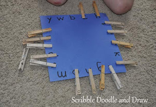Literacy activity match uppercase and lowercase letters with clothespins