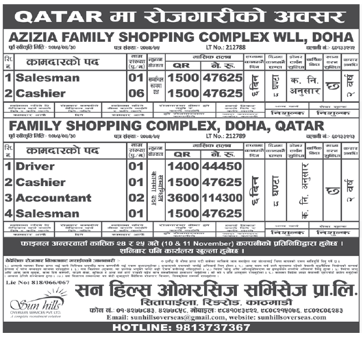 Jobs in Qatar for Nepali, Salary Rs 1,14,300