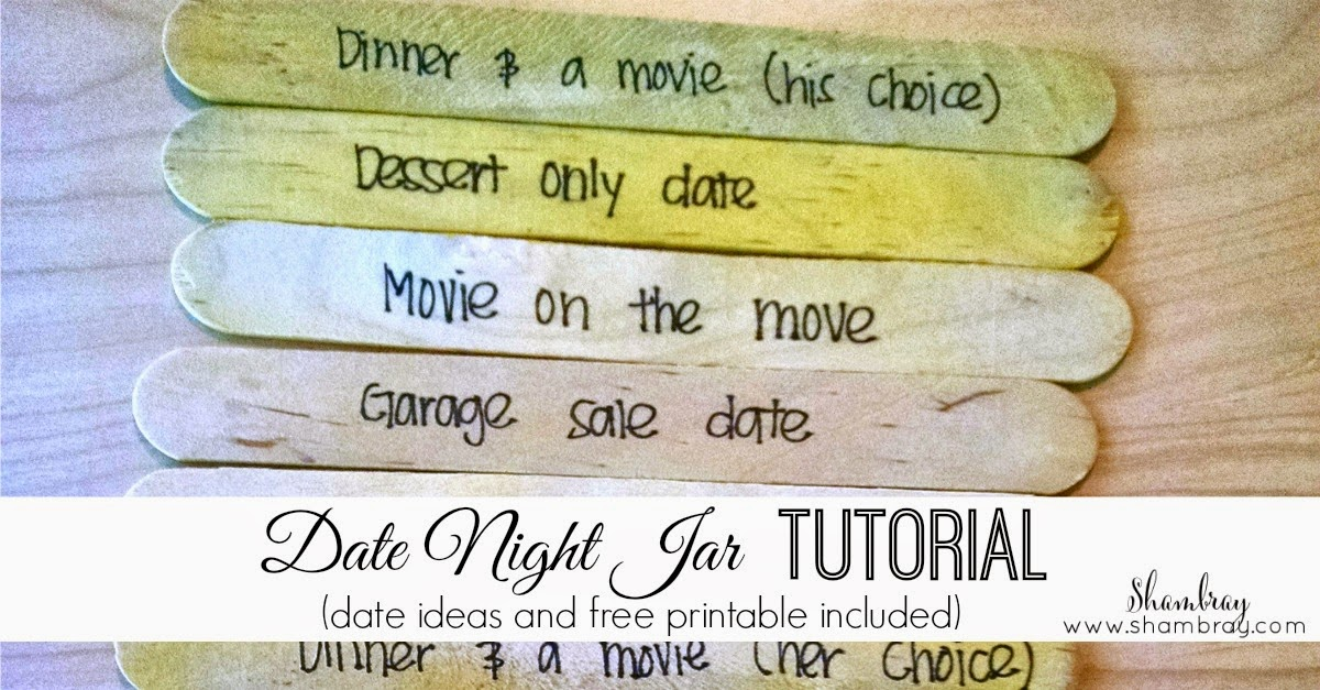 picture about Date Night Jar Printable titled Shambray: Day Night time Jar