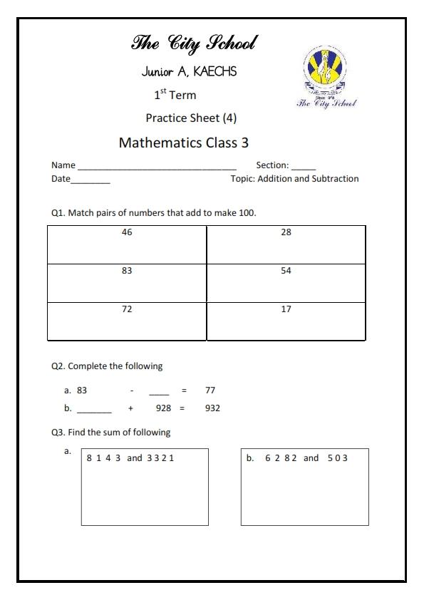 Math - Class 3 | The City School KAECHS CAMPUS