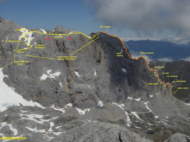 Croquis integral tajahierro y descenso de Peña olvidada . Fernando Calvo Guía de alta montaña UIAGM