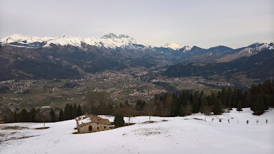 View from Rifugio San Lucio toward the Presolana mountain range.
