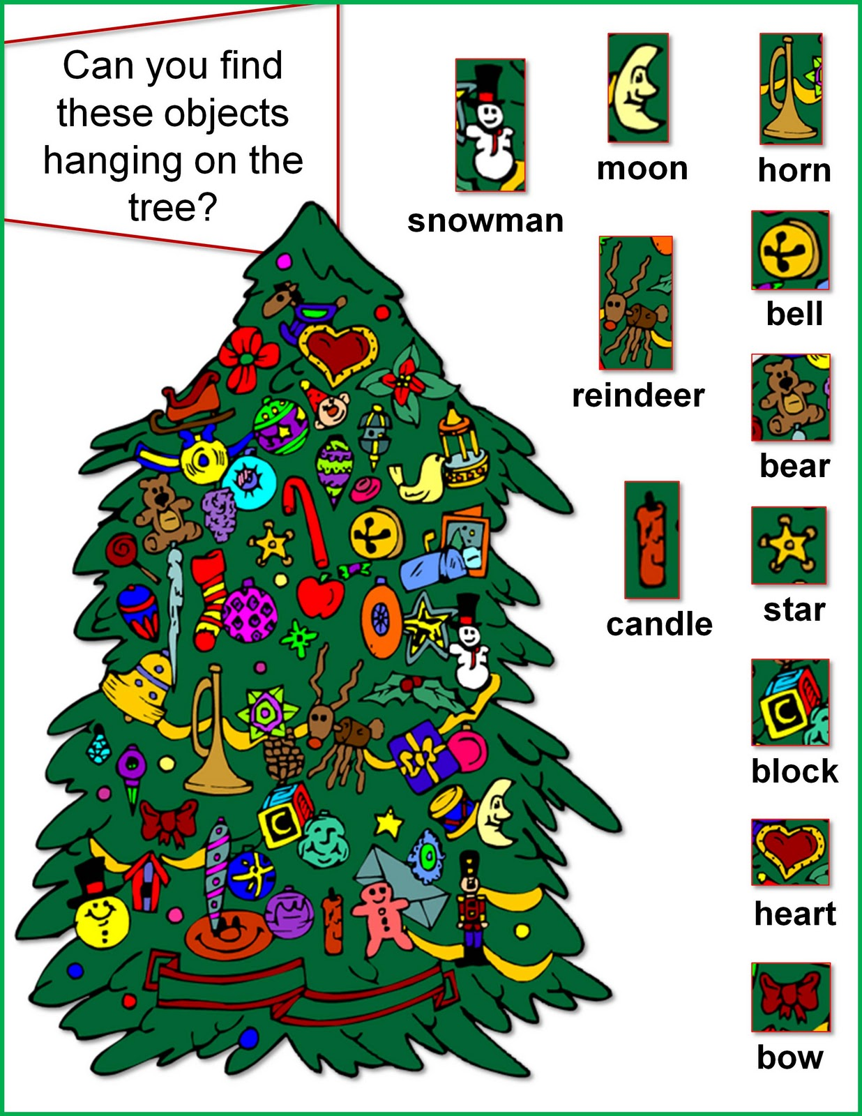 Nonna And Me Christmas Tree Object Hunt Activity Sheet
