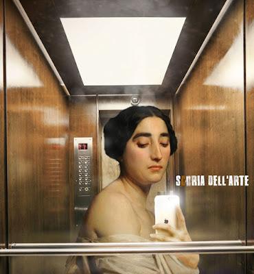 I dipinti classici nella vita moderna-Selfie in ascensore