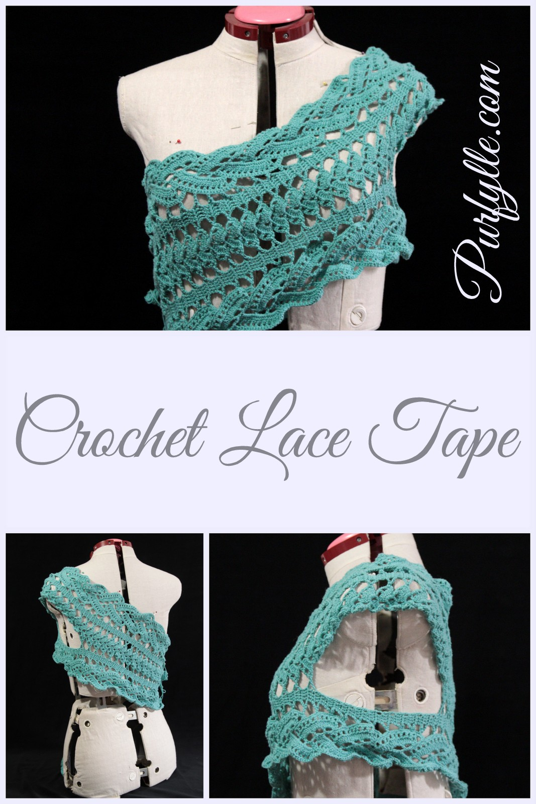 Crochet Lace Tape Asymmetrical Top - in progress