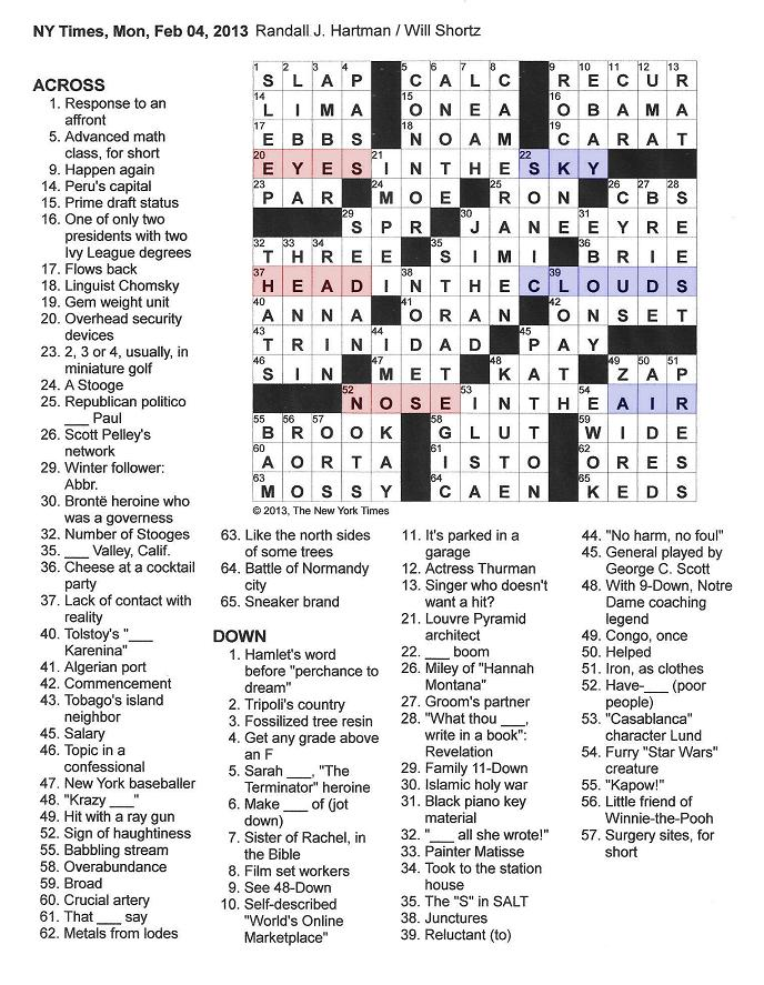 The New York Times Crossword in Gothic: 02.04.13 — Above