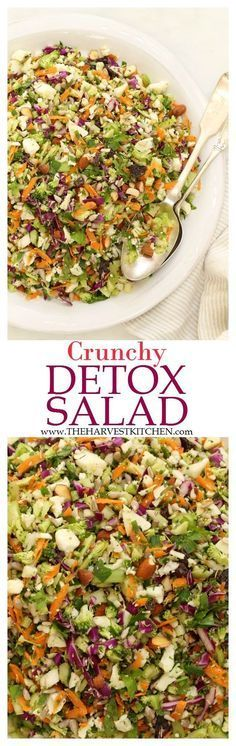 Ready for some salad love? This Crunchy Detox Salad is an ultra simple recipe both for the salad and its dressing. It's made with fresh, local and organic ingredients that are crisp and bursting with flavor. | healthy recipes | | cleaning eating | | detox salads | | detox recipes