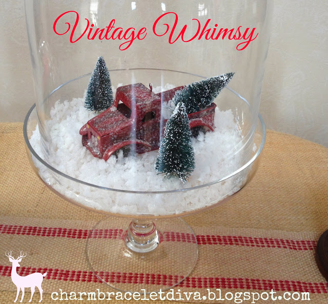 Christmas Cloche with vintage pick-up truck and bottle brush tree