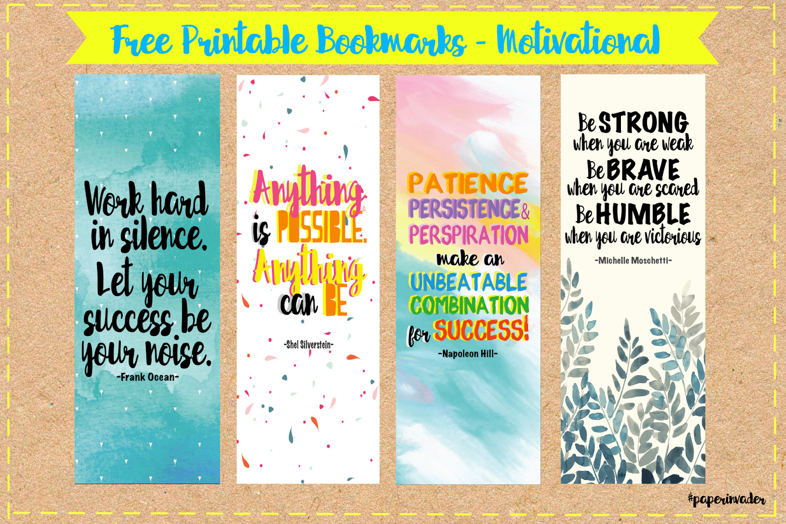 Selective image inside free printable bookmarks with quotes