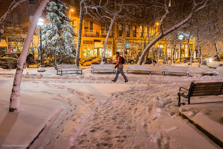 Portland, Maine USA January 2017 photo by Corey Templeton of Winter snow in Post Office Park in Old Port off Exchange and Market Streets.