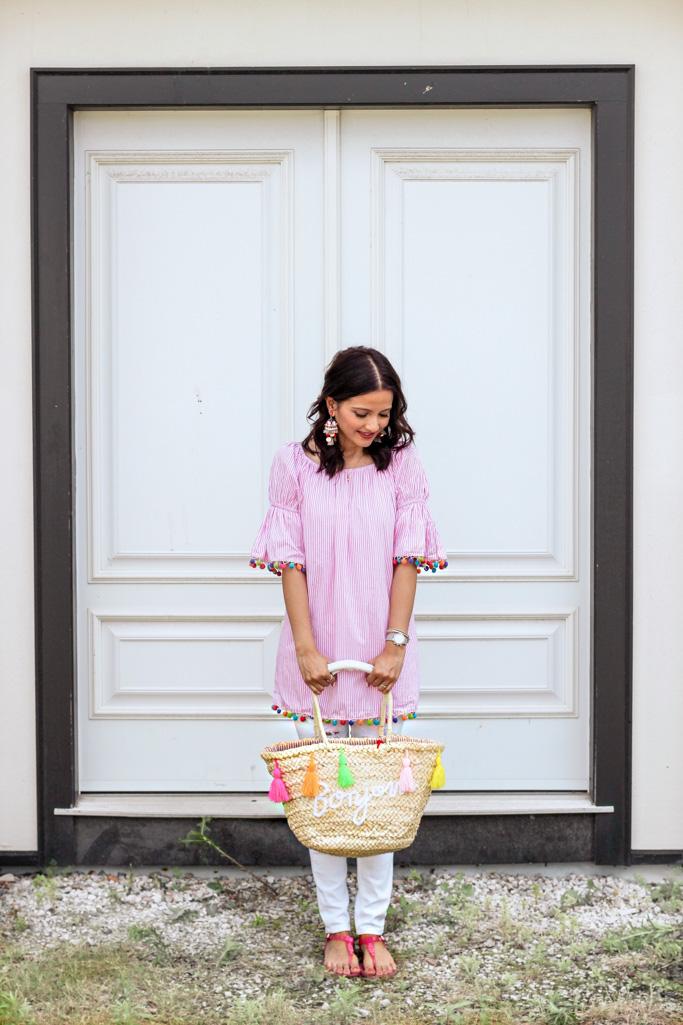 Pink Pom Pom trim shirt with Bonjour Straw Tassel Bag