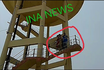 इटावा सुसराल बालो से तंग आकर महिला अपने हक की मागों को  लेकर पानी की टंकी पर चढ़ी