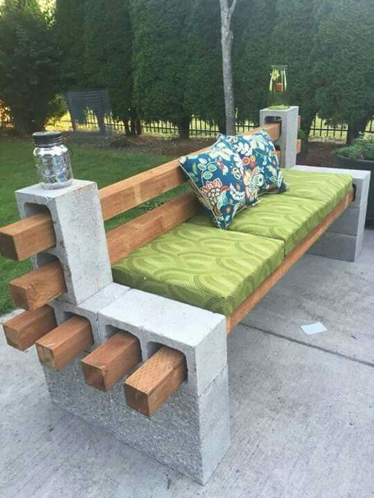 Outdoor Bench From Concrete Blocks U0026 Wooden Slats