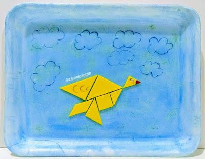 a viagem das sete peças, livro, as tres partes, tangram, donamaricota, história, hora do conto, sala de aula, matematica, igreja, flor, vela, vovó, e.v.a., pássaro, barco, peixe, mar,