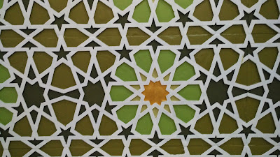 ornamen masjid arabesque bahan GRC dan kombinasi cat jotun dan warna emas