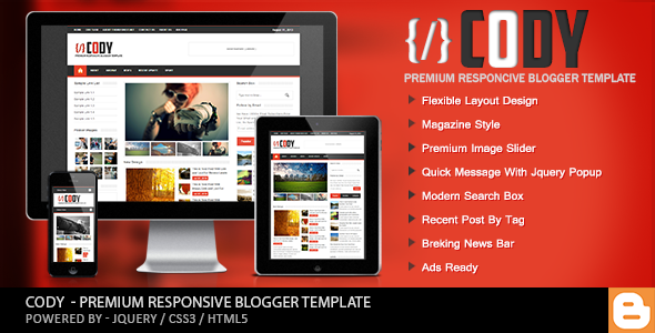 Cody - Responsive Magazine Blogger Template Free download