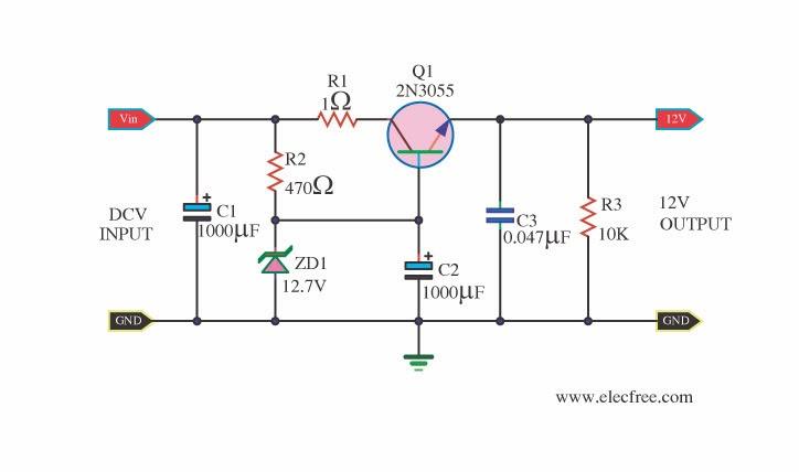 12v dc voltage regulator circuit diagram