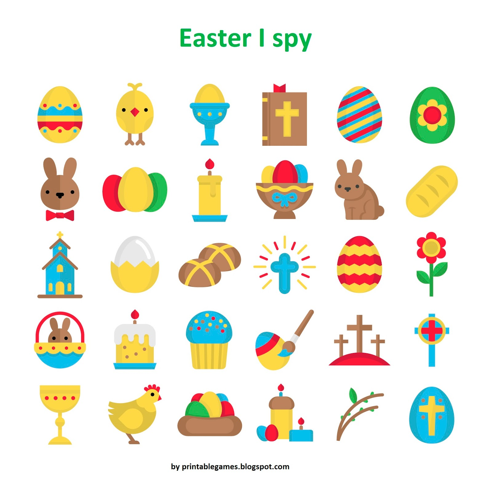 Gry Jezykowe Printable Games Easter I Spy Game