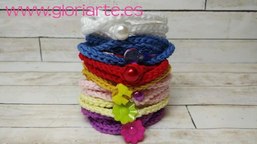 pulseras variadas de crochet