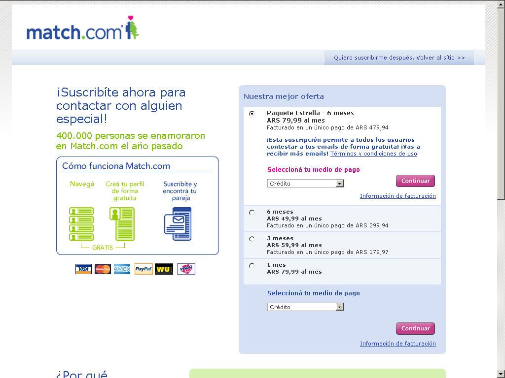 Match com payment methods