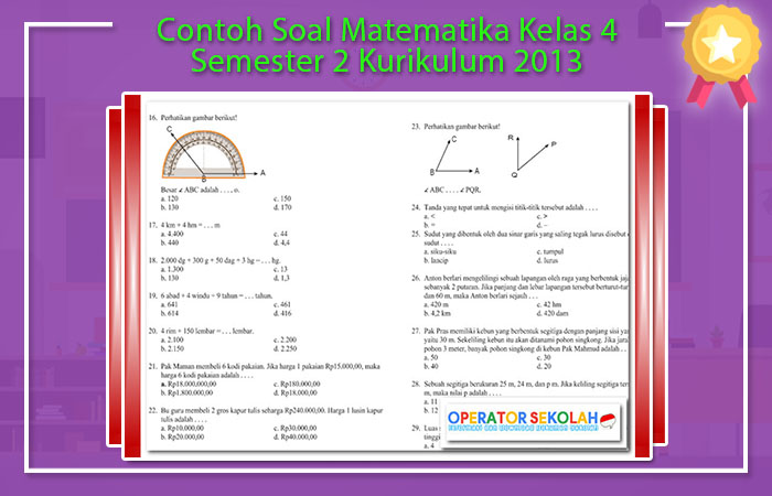 Contoh Soal Matematika Kelas 4 Semester 2 Kurikulum 2013