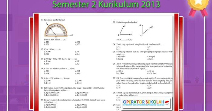 Contoh Soal Matematika Kelas 4 Semester 2 Kurikulum 2013  Operator Sekolah