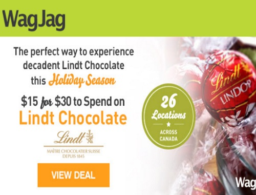 Wagjag Lindt Chocolate $15 For $30