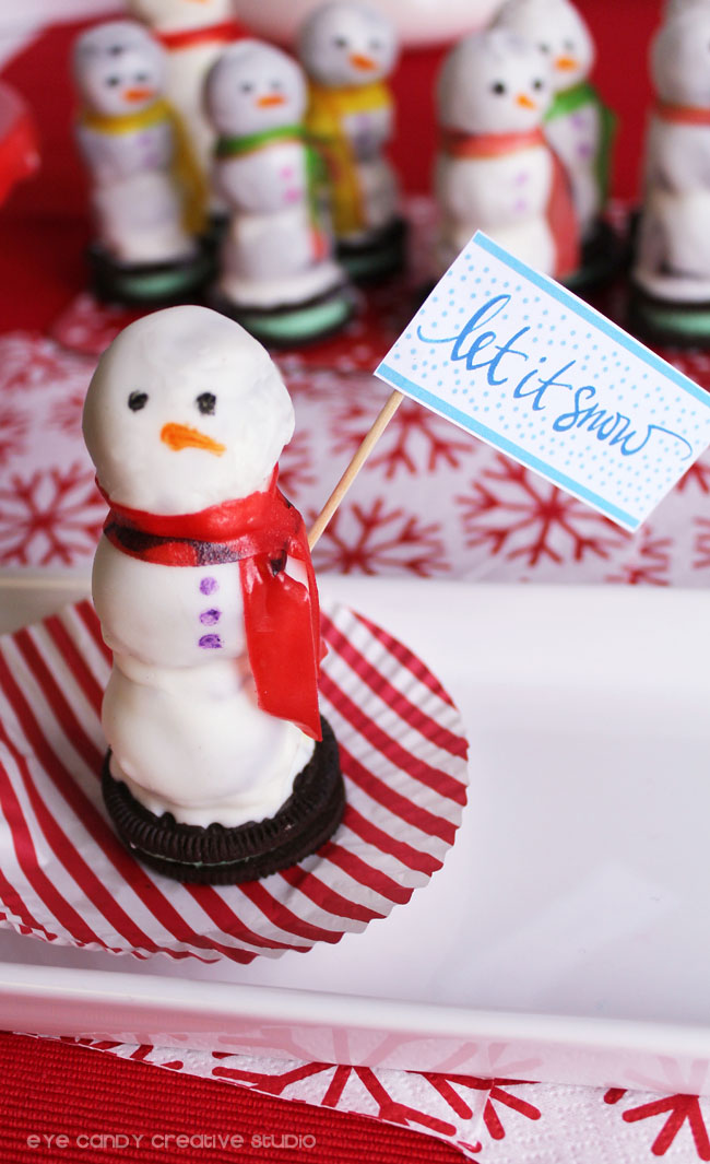 free let it snow sign, oreo cookie balls, oreo snowman, scarf fruit roll up