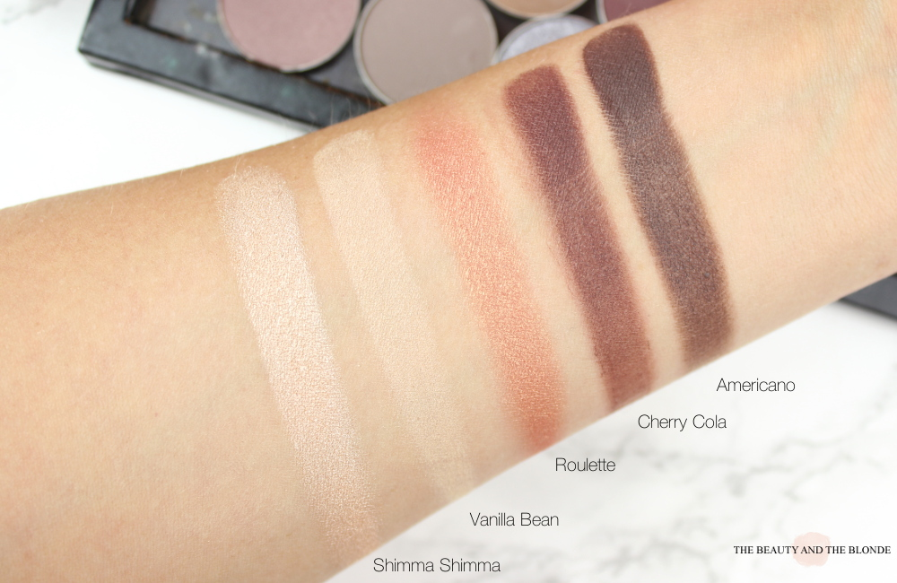 Makeup Geek Swatches: Shimma Shimma, Vanilla Bean, Roulette, Cherry Cola & Americano