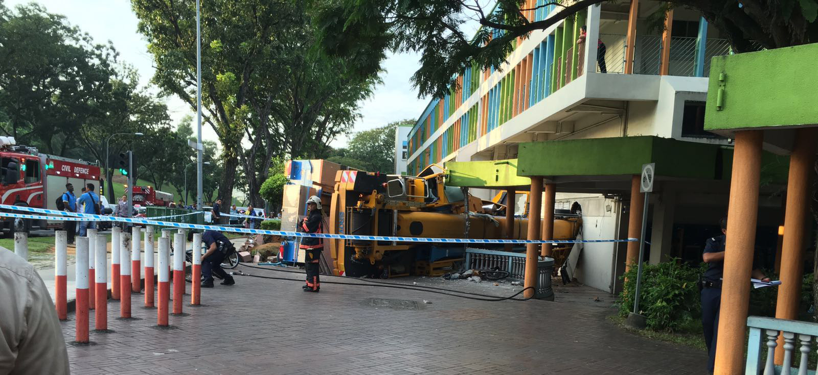 SCDF cordon off area of the demised crane.