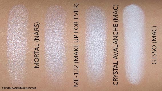 NARS Steven Klein Eyeshadow Mortal Swatch MAC Gesso Crystal Avalanche MUFE ME-122